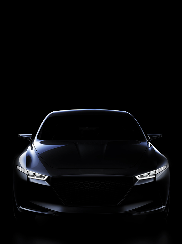 Silhouette of Hyundai's concept car with headlamp on