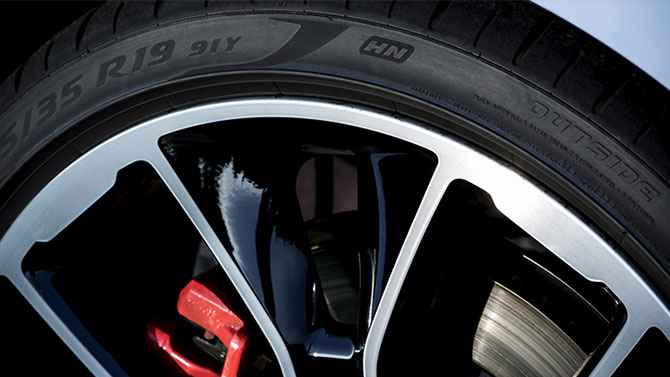 detailed view of R19 tire