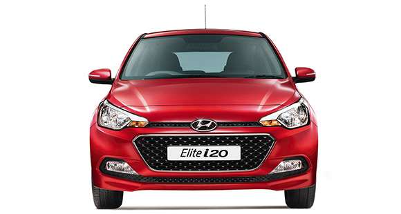 Front view of red Elite i20