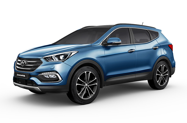 Front view of blue Santa Fe