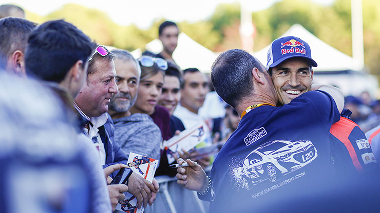 danny sordo hugs with his crew and reluctantly takes 2nd place in spain