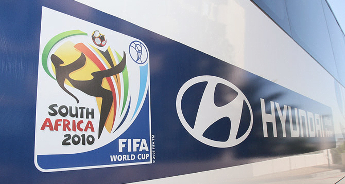 Hyundai Composite Logo on the team bus for 2010 FIFA World Cup South Africa