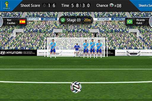 Game screen showing a free kick moment in front of goalpost